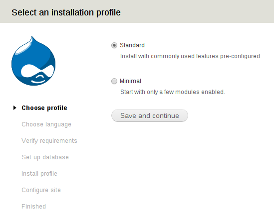 Tela1 select an installation profile drupal.png