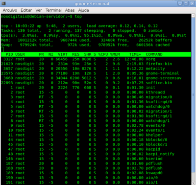 Terminal konsole ativo no debian lenny fazendo uso do programa top